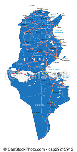 Tunisia map. Highly detailed vector map of tunisia with ...
