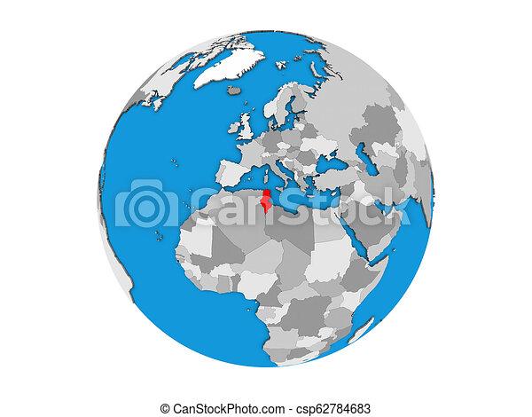 Tunisia on 3D globe isolated - csp62784683