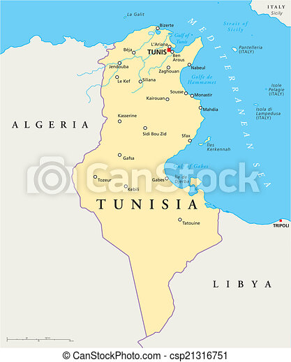 Tunisia political map. Political map of tunisia with capital tunis ...