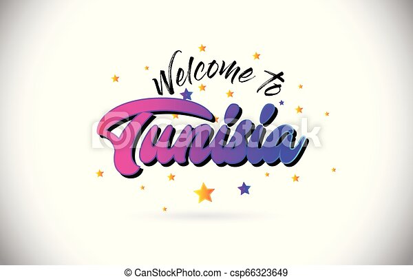 Tunisia Welcome To Word Text with Purple Pink Handwritten Font and Yellow Stars Shape Design Vector. - csp66323649