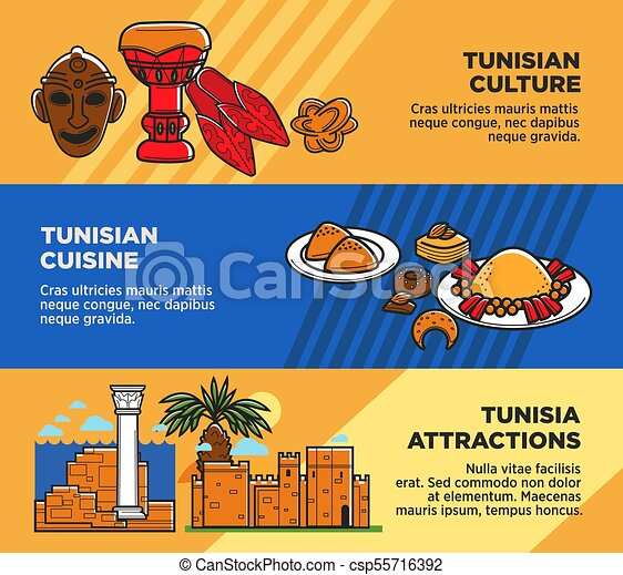 Tunisian Cuisine And Attractions Travel Agency Promo Posters Set Authentic Culture Exotic Ancient On Banners Original Place To