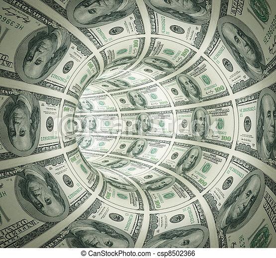 tunnel, astratto, fatto, soldi. - csp8502366