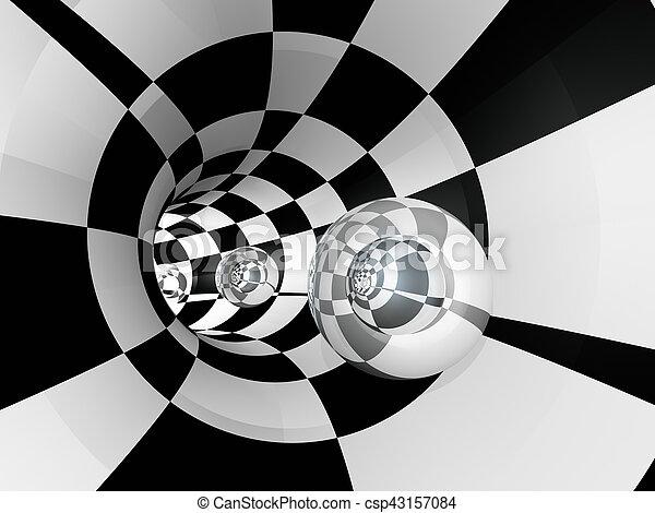 Tunnel Checker Sphere Glass - csp43157084