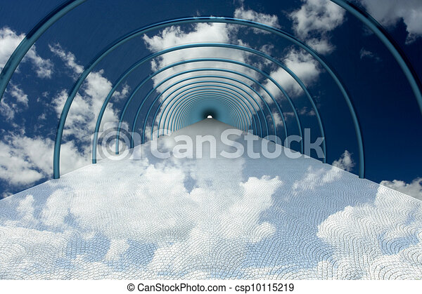 tunnel in clouds. 3D image. - csp10115219