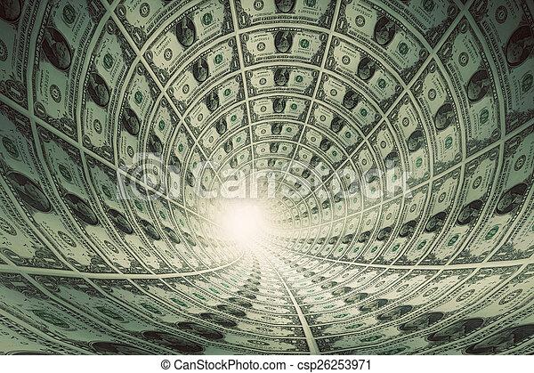 Geldtunnel, Dollar in Richtung Licht - csp26253971