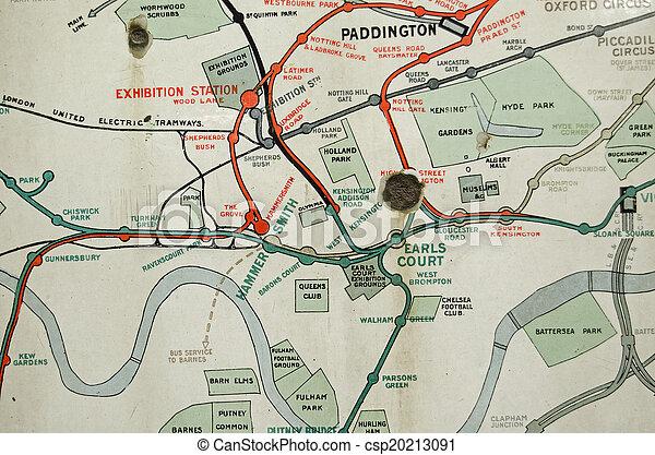 Tunnelbana Karta Historisk London Over Ar London 100 Stad