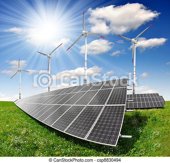 turbina, paneles, solar, viento - csp8830494