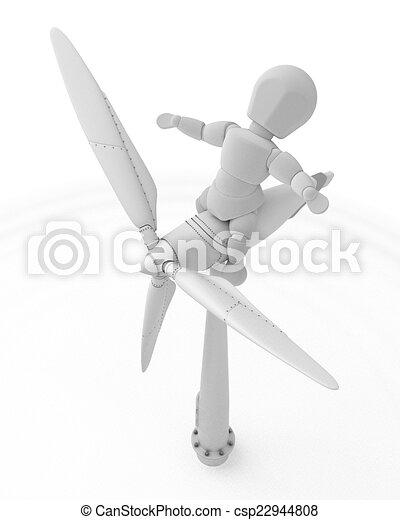 Hombre con turbina de viento - csp22944808