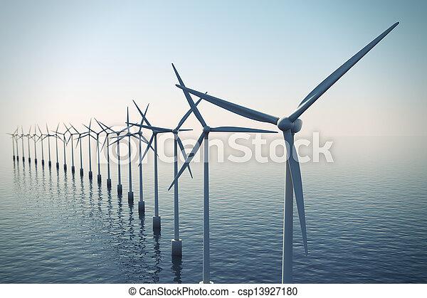 turbinas, nebuloso, day., durante, flutuante, vento, fila - csp13927180