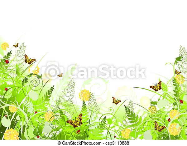turbini, cornice, illustrazione, fogliame, floreale, farfalla - csp3110888
