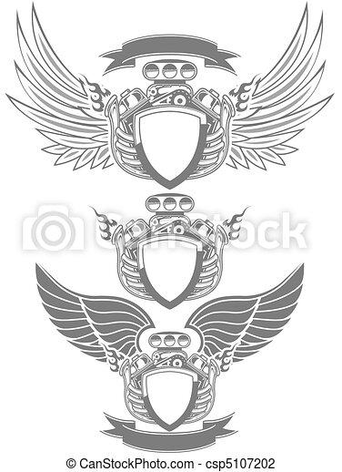 Turbo Engine Emblem Clip Art Csp on Car Wings Drawings