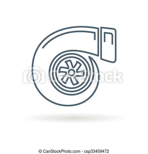 Turbo Fundo Branco Icone Turbo Illustration Turbocharger