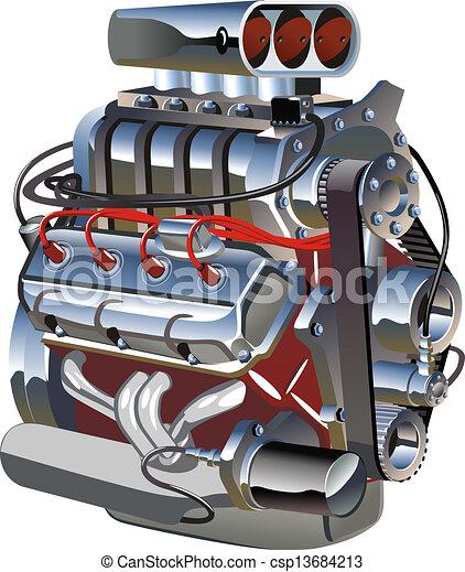 turbo, motor, caricatura - csp13684213