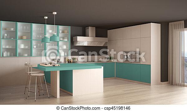 Turchese, classico, moderno, pavimento, disegno, parquet, interno ...