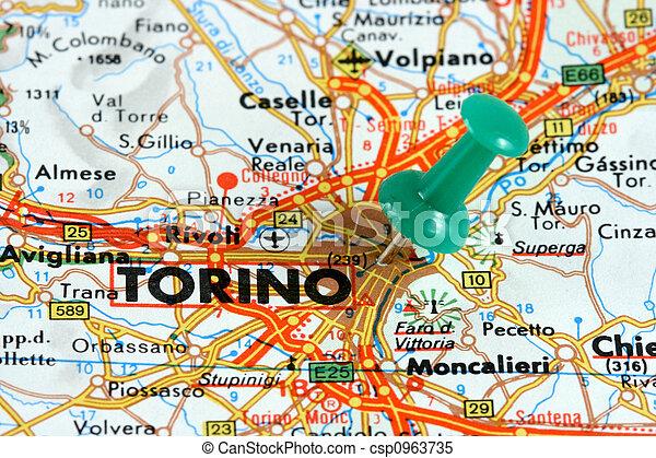 torino italia mapa Turin on the map. Turin (torino) in italy. push pin on an old map  torino italia mapa