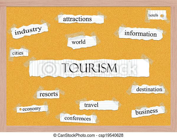 turismo, conceito, corkboard, palavra - csp19540628