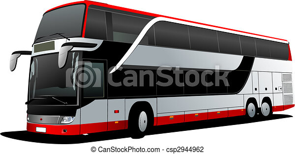 turist, dubbel, illustration, decker, vektor, bus., coach., röd - csp2944962