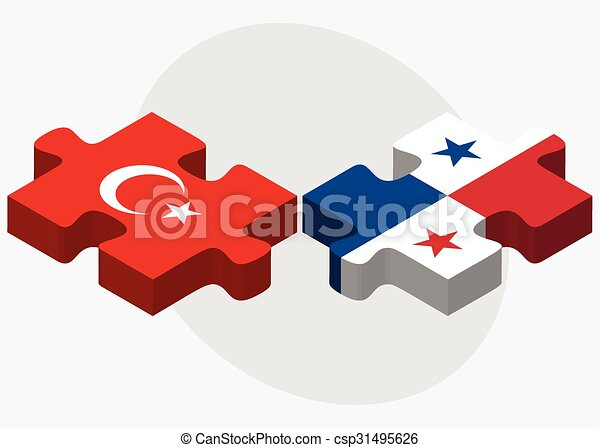 Turkey And Panama Flags In Puzzle Isolated On White Vector - Panama flags