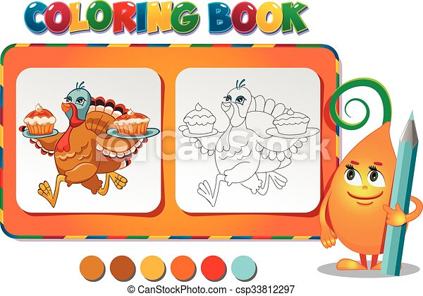 Coloring book turkey carries pies - vector illustration. eps vectors ...