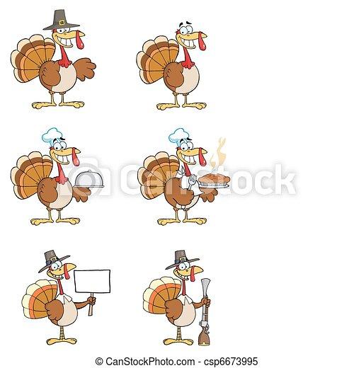 Turkey Cartoon Characters - csp6673995