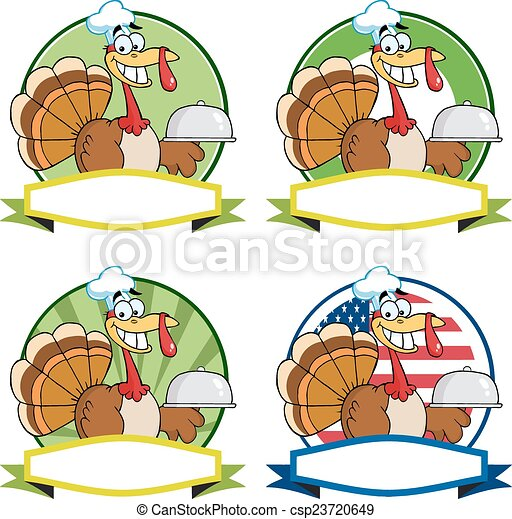 Turkey Chef Labels. Collection - csp23720649