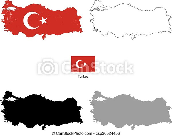 Turkey country black silhouette and with flag on ...