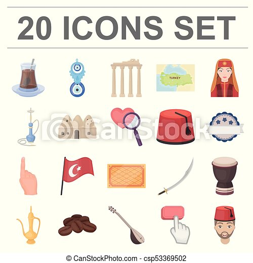 Turkey country cartoon icons in set collection for design ...