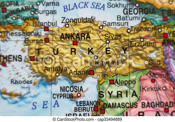 Turkey country map . Photo of a map of turkey and the capital ankara .