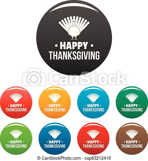 Turkey happy thanksgiving icons set color - csp63212418
