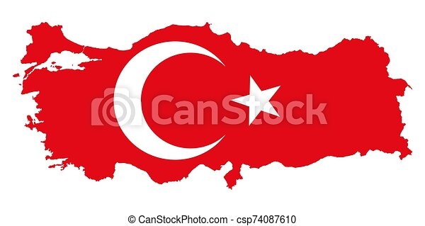 Turkey map flag or Turkish national symbol vector illustration