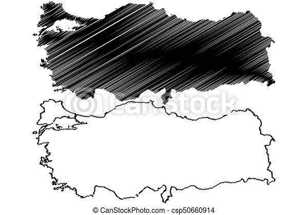 Turkey map vector illustration scribble sketch turkey vector clip
