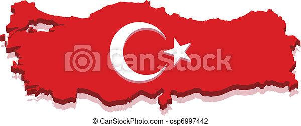 Turkey Map with Turkish Flag 3D - csp6997442