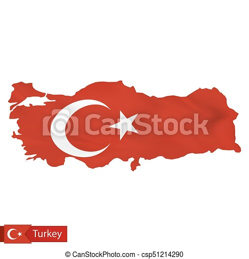 Turkey map with waving flag of turkey. vector illustration.
