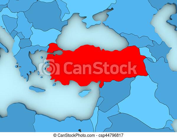 Turkey on 3D map - csp44796817