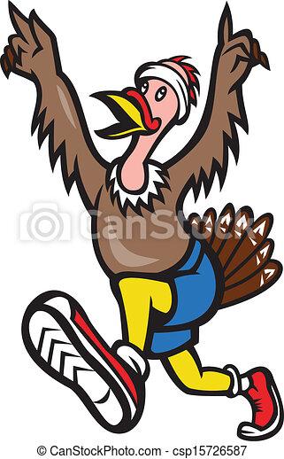 turkey run runner cartoon isolated illustration of a wild vector rh canstockphoto com  running turkey clipart black and white
