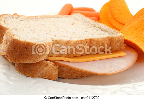 Turkey Sandwich Close Up Of Turkey And Cheese Sandwich With Carrots