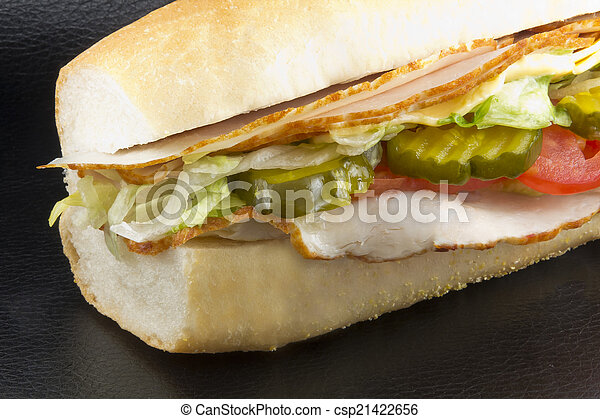 Homemade Enormous Turkey Sub Ready To Be Gobbled Up Stock Images