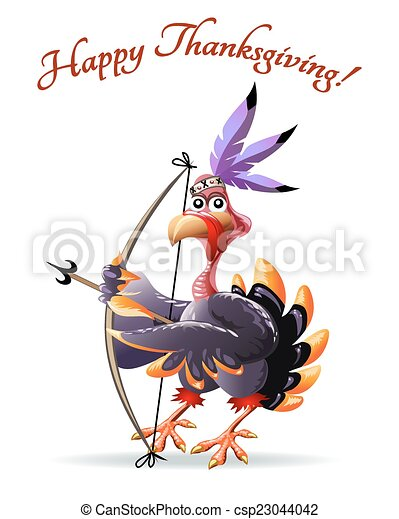 Turkey with bow thankgiving greeting card - csp23044042