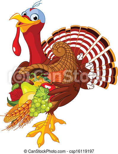 Turkey with cornucopia - csp16119197