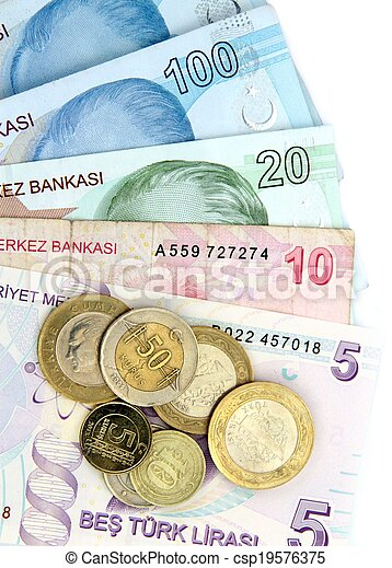 Turkish banknotes and coins - csp19576375