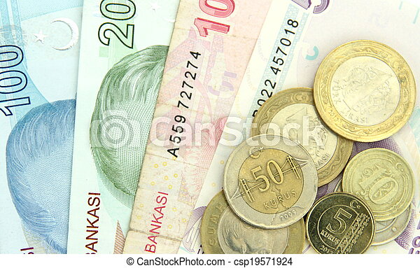Turkish banknotes and coins - csp19571924