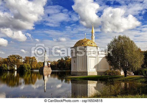 Turkish bath and Chesme Column in Catherine Park at Tsarskoye Selo (Pushkin), St. Petersburg, Russia - csp16504818