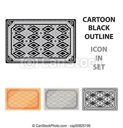 Turkish carpet icon in cartoon style isolated on white background. Turkey symbol stock vector illustration. - csp50825195