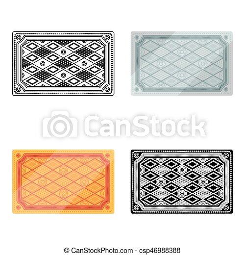 Turkish carpet icon in cartoon style isolated on white background. Turkey symbol stock vector illustration. - csp46988388