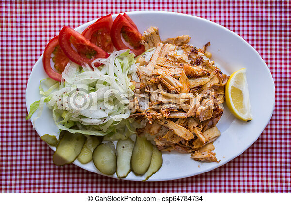 Turkish Chicken Doner Kebab With Rice In A White Plate Canstock