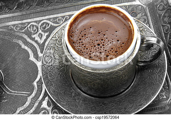 Turkish coffee and metal cup - csp19572064