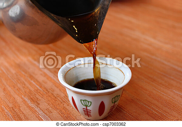 Turkish Coffee Pouring Into Traditional Arabic
