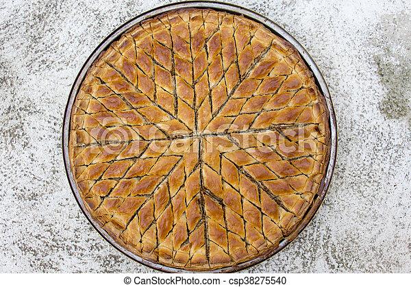 Turkish dessert baklava on plate - csp38275540