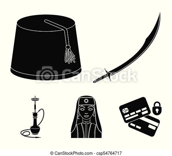 Turkish fez, yatogan, turkish, hookah Turkey set collection icons in black  style vector symbol stock illustration web