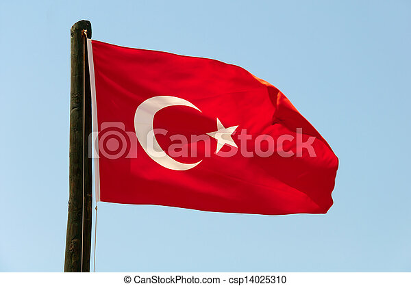 Turkish flag on a background of blue sky - csp14025310